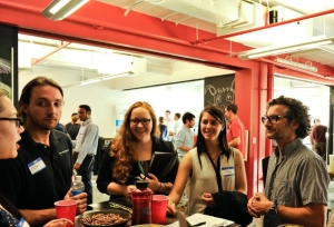 Greg Cangialosi '96 (far right) talks with students about careers in the startup industry at the Betamore Startup Crawl, which he hosted in May.