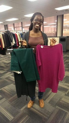 UMBC SAA member Sheena was able to mix and match a few items to create a great outfit. (photo via SAA)