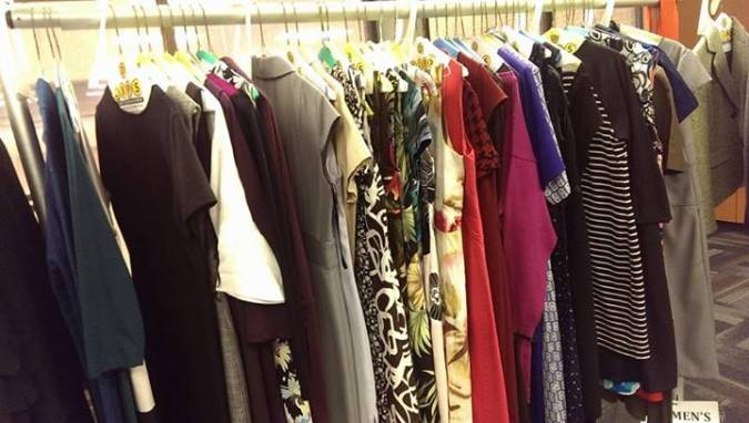 Some of the clothes donated by the UMBC community. (photo via SAA)