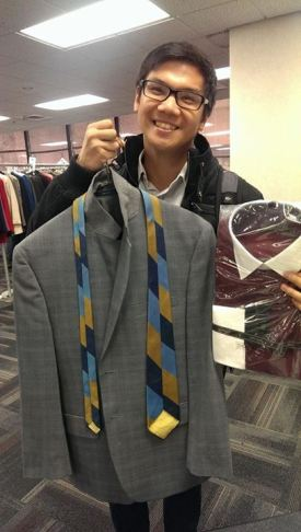 Another happy student finds an interview outfit! (photo via SAA)