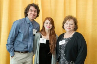 France-Merrick Scholars Parker James and Isabel Geisler pose with Sheree Norton from the foundation.
